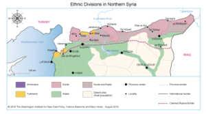 Suriye'nin kuzeyindeki etnik durumun haritası