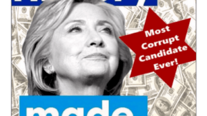 Trump cephesinin afişi: Clinton için 'Yolsuzluğa batmış aday' yazısı Musevilerin altı köşeli yıldızı üzerine kazınmış...